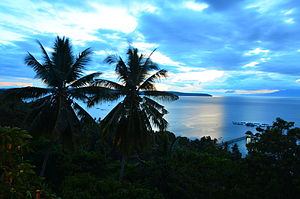 Samal, Davao del Norte - View from Samal Island, looking towards Talikud Island and mainland Mindanao