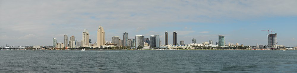 Downtown San Diego skyline during daytime, seen from Coronado, in November 2007