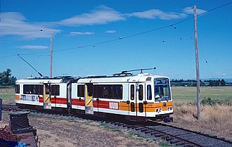 US Standard Light Rail Vehicle - Car 1213 in operation at the Oregon Electric Railway Museum