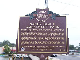 Indian Lake (Ohio) - Ohio historical marker outlining the history of the amusement park.