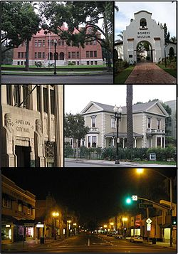 Images, frae top, left tae richt: The Old Orange County Courthouse, Bowers Museum, auld ceety haw, Minter House, an Broadway street