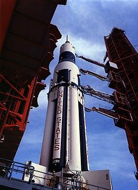 Saturn I på affyringsrampe LC-37B 34 dage før opsendelsen af A-101