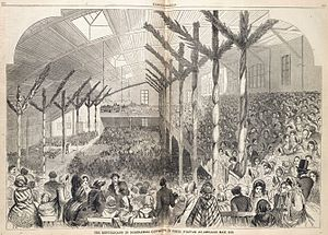 1860 Republican National Convention - Drawing of the Wigwam interior during the 1860 nominating convention. Note the second story gallery and curved ceiling structure to allow for better acoustics.