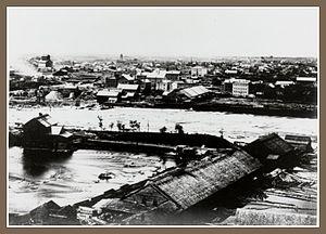 Franklin Steele - Looking northeast across the river ca. 1868