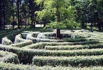 """Corpse road - Hedge maze in the """"English Garden"""" at Schönbusch Park, Aschaffenburg, Germany."""