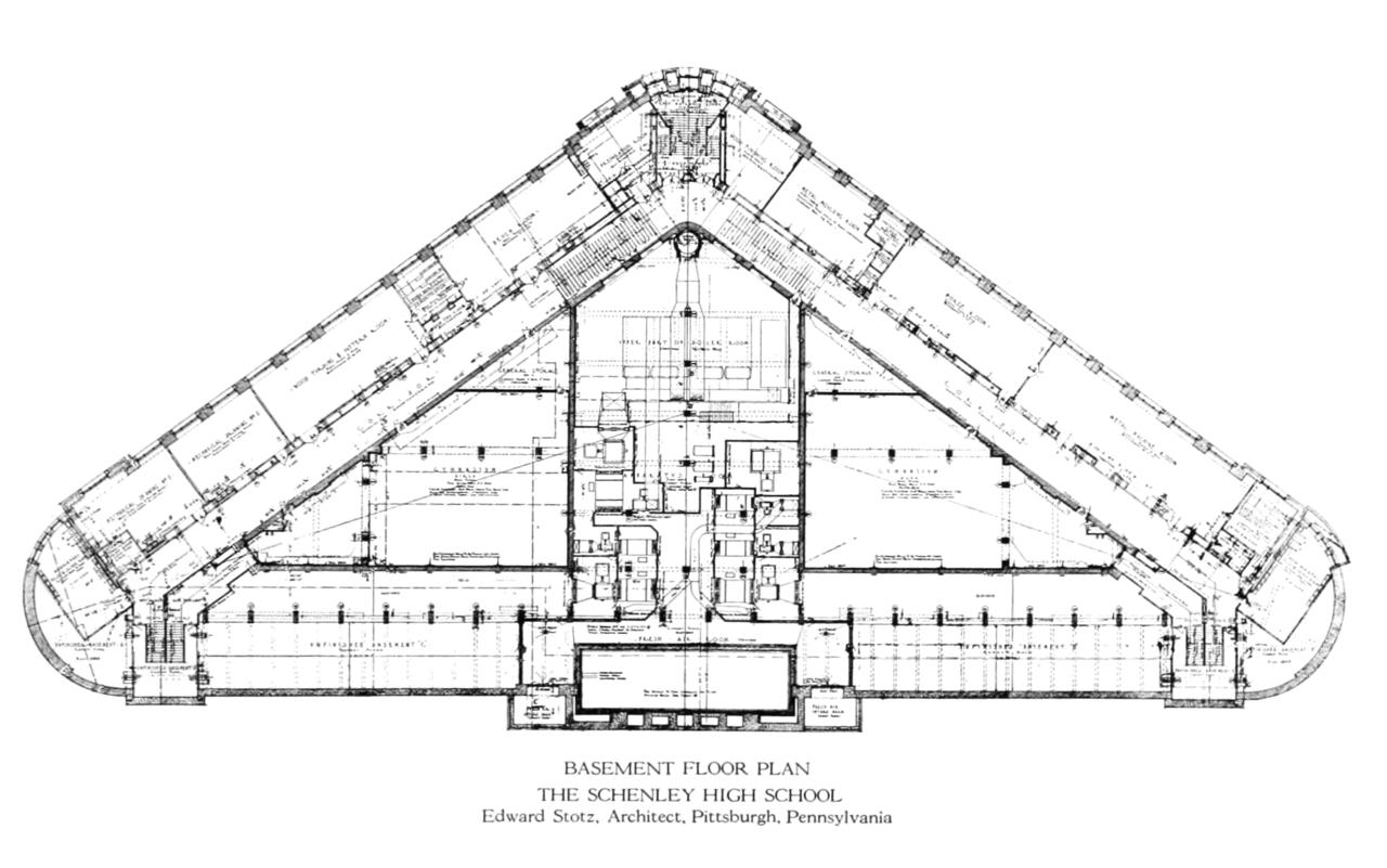 File schenley high school 1916 basement floor for High elevation deck plans