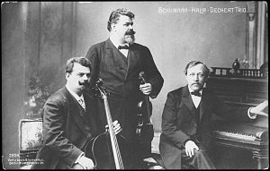 Trio (music) - The Schumann-Halir-Dechert Piano Trio (violin, cello, and piano)