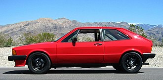 Front-engine, front-wheel-drive layout - The 1970s Giugiaro styled hatchback coupe VW Scirocco based on the contemporary Giugiaro Golf was in MK1 and MK2 forms the most successful VW coupe with 800,000 made.