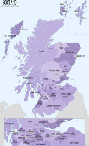 Subdivisions of Scotland - Image: Scotland Administrative Map 2009