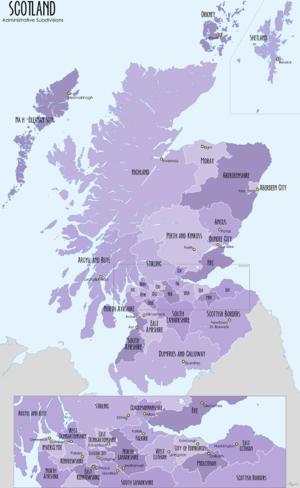Subdivisions of Scotland - Image: Scotland Administrative Map 2009