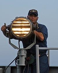 Seaman send Morse code signals.jpg