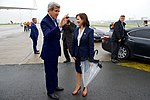 Secretary Kerry Chats With Ambassador Bauer After Deplaning in Belgium (27657341380).jpg