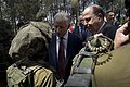 Secretary of Defense Chuck Hagel and Israeli Minister of Defense Moshe Ya'alon, speak with members of the K-9 Special Forces Unit at Camp Adam in Israel, April 23, 2013 (Pic 2).jpg