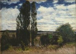Carl Fredrik Hill: Seine. Landscape with Poplars