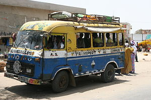 Transport in Senegal - A Car Rapide in Senegal, a common mode of transportation.
