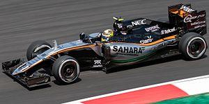 Force India VJM09 - Image: Sergio Perez 2016 Malaysia FP2 1