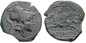 Second Punic War - Roman coin issued during the Second Punic war showing (obverse) the god of war Mars and (reverse) a very rare image of a Roman cavalryman of the time. Note the plumed helmet, long spear (hasta), small round shield, flowing mantle. Roman cavalry was levied from the equites, or noble knights, until c. 338 BC and thereafter also from the First Class of commoners under the centuriate organisation. Bronze quincunx from Larinum mint