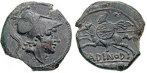 Equites - A Roman coin issued during the Second Punic War (218-201 BC) showing (obverse) the god of war Mars and (reverse) probably the earliest image of a Roman cavalryman of the Republican era. Note helmet with horsehair plume, long spear (hasta), small round shield (parma equestris), flowing mantle. Roman cavalry was levied from the equites, and from volunteers of the second property class, until the early 1st century BC. Bronze quincunx from Larinum mint.