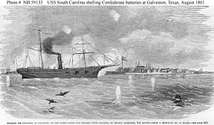 USS South Carolina (1860) - Image: Shelling the Batteries at Galveston, by the United States War Steamer South Carolina, on Monday Afternoon, 5th August