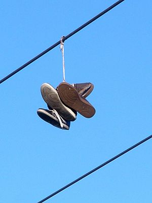 Shoe tossing - Shoe tossing in Vitoria-Gasteiz, Spain (2013).