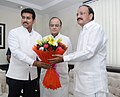 Shri M. Venkaiah Naidu being greeted by the Union Minister for Finance and Corporate Affairs, Shri Arun Jaitley and the Minister of State for Information & Broadcasting, Col. Rajyavardhan Singh Rathore.jpg