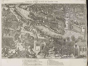 Siege of Orléans (1563) - The siege of Orleans, 1570 engraving by Tortorel and Perrissin.