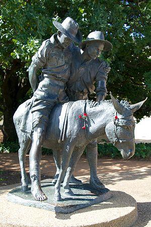 John Simpson Kirkpatrick - A commemorative statue of Simpson and Duffy.