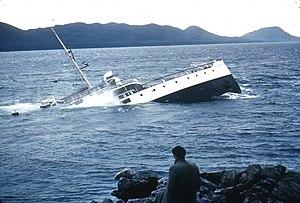 SS Princess Kathleen (1924) - Image: Sinking of the Princess Kathleen, 1952 at Lena Point near Juneau, Alaska