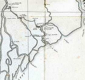 Carte de la Basse-Birmanie de 1795, sur laquelle on distingue Rangoon et Syriam