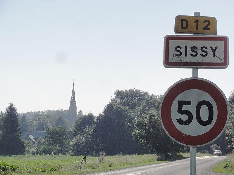 Sissy (Aisne) city limit sign