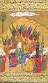 Siyer-i Nebi - Muhammad beim Aufbruch zur Befreiung Mekkas begleitet von mehreren Erzenegeln.jpg