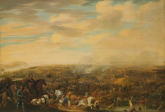 Dutch Revolt - Prince Maurice at the Battle of Nieuwpoort by Pauwels van Hillegaert. Oil on canvas.