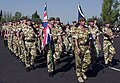 """Soldiers of the British Army (United Kingdom) march for a """"pass and review"""" during the opening cermonies of exercise Central Asian Peacekeeping Battalion (CENTRASBAT) 2000, Almaty, - DPLA - efc8d8b83495b26ac4711d669b237367.jpeg"""