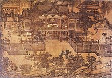 A diagram of an elaborate building situated on a stream or river. It appears that people are bringing buckets of water from the river up a pair of ramps and pouring it into a turbine in order to make the turbine move, as opposed to the flow of the river moving the turbine.