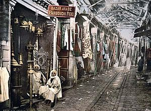Souk El Trouk - Photochrom of Souk El Trouk in 1899