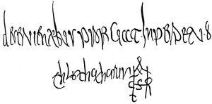 Edict of Paris - Chlothar II's signature, from a document of 625