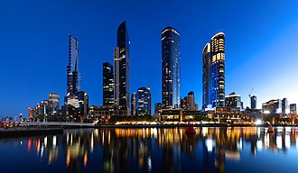 Southbank, Victoria - Southbank skyline at night. From left to right: Eureka Tower, Freshwater Place, Prima Pearl, Crown Melbourne.