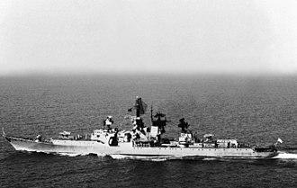 Soviet cruiser Admiral Oktyabrsky - Admiral Oktyabrsky underway, September 1990