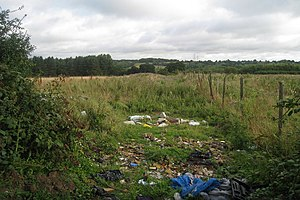Waste in the United Kingdom - Spoiled footpath in Brede, East Sussex