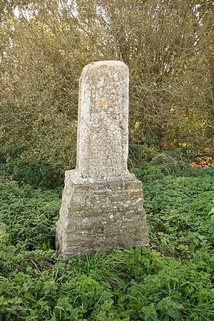 Guthlac of Crowland - St Guthlac's cross from c 1200, inscribed Hanc Petra Guthlac ..., marked the boundary of Crowland Abbey