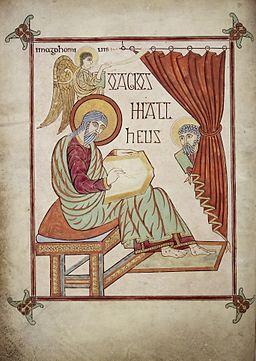 St. Matthew - Lindisfarne Gospels (710-721), f.25v - BL Cotton MS Nero D IV