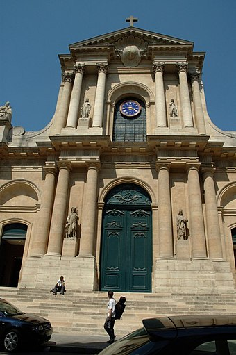 Church of Saint-Roch, front view of the church in which he and his friend Denis Diderot were buried. St. Roch Paris.jpg