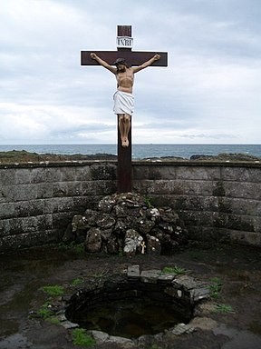 St Patrick's Well at Ardtole with the Irish Sea in the background - geograph.org.uk - 1535121.jpg