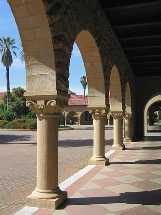 Main Quad (Stanford University) - One of the covered open walkways of the inner courtyard. A close look at the capitals of the columns will show that they differ.