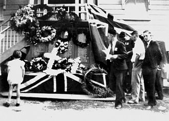 Anzac Day ceremony at Canungra's honour board memorial, Australia, 1937 StateLibQld 1 101160.jpg