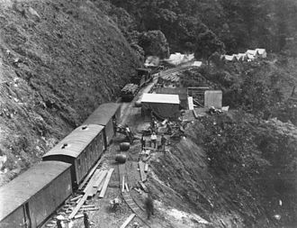 Tablelands railway line, Queensland - Works train in the Barron Gorge section