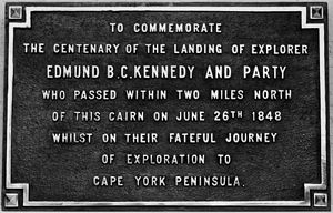 Cape York Peninsula - Commemorative stone for Edmund B. C. Kennedy, unveiled at Cardwell, 1948. In 1848, Kennedy, Assistant-Surveyor of New South Wales, led an expedition to explore Cape York Peninsula.