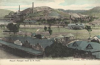Mount Morgan, Queensland - View of the town of Mount Morgan and the mine beyond from the Queensland National Hotel