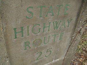 New Jersey Route 25 - State Highway Route 25 stamp in Mercer County on present-day US 130