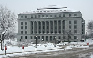 Minnesota Legislature - Image: State Office Building (S.O.B.) seen from near the front steps of the State Capitol on Aurora Avenue in Saint Paul, Minnesota